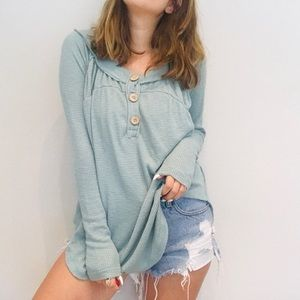 NWT Free People light teal henley thermal